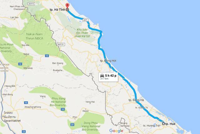 Từ Huế đi Hà Tĩnh bao nhiêu km?