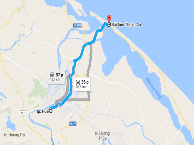 Từ Huế đi bãi biển Thuận An bao nhiêu km?