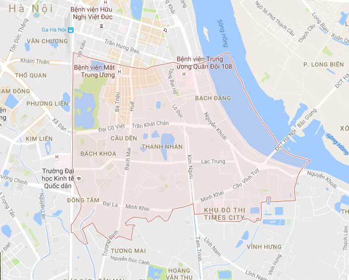 Bản đồ quận hai bà trưng