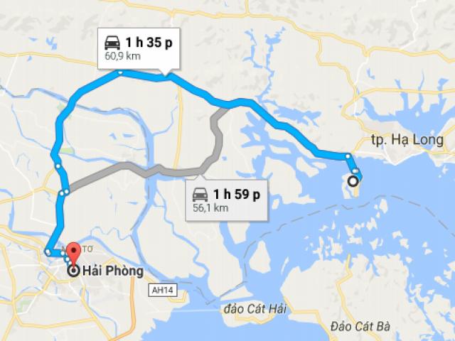 Tuyến đường đi từ Hải Phòng đến Tuần Châu bao nhiêu km?