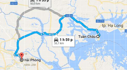 Tuyến đường đi từ Hải Phòng đến Tuần Châu