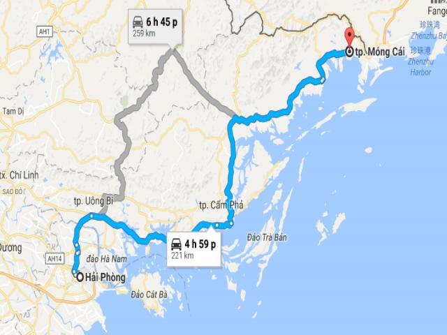 Từ thành phố Hải Phòng tới thành phố Móng Cái bao nhiêu km?