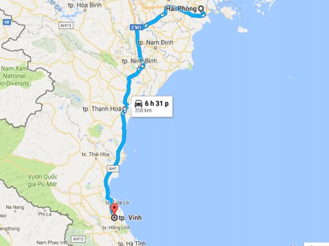 Từ thành phố Hải Phòng tới thành phố Vinh bao nhiêu km?