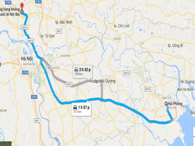 Từ thành phố Hải Phòng đi sân bay Nội Bài bao nhiêu km?