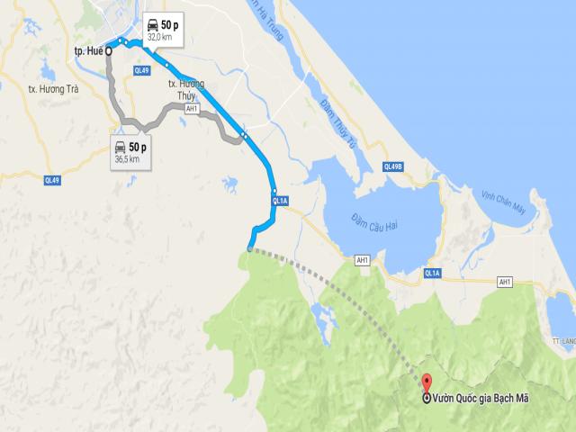 Từ Huế đi Vườn Quốc gia Bạch Mã bao nhiêu km?